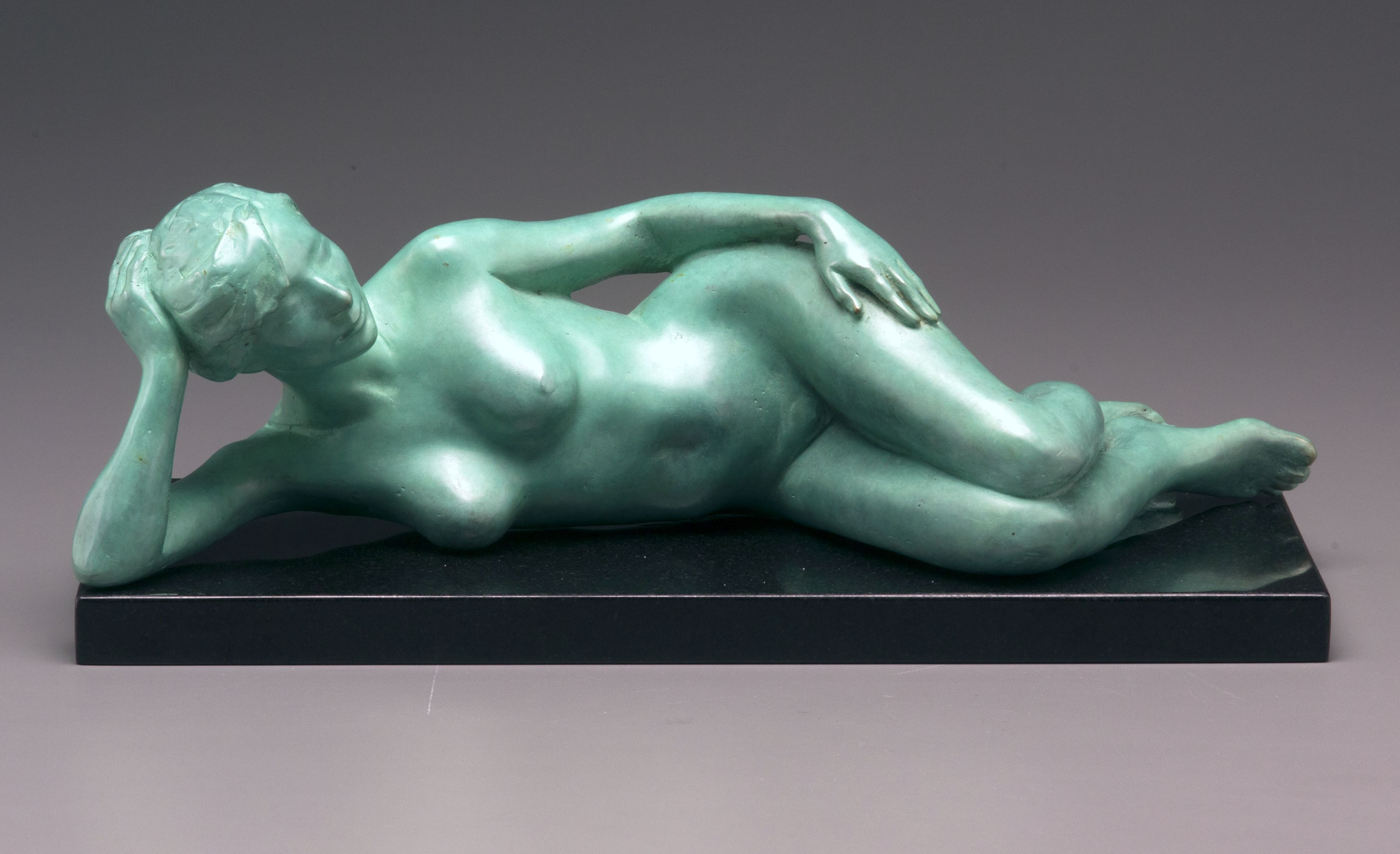 Repose, bronze, 5 x 14 x 6 inches