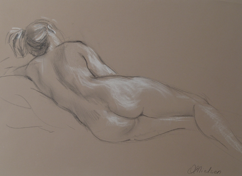 Resting Nude, Pencil and chalk